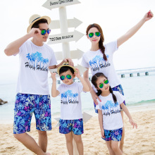 Family-friendly summer travel clothing A family of three or four family coconut palm holiday set comfort and soft family цена