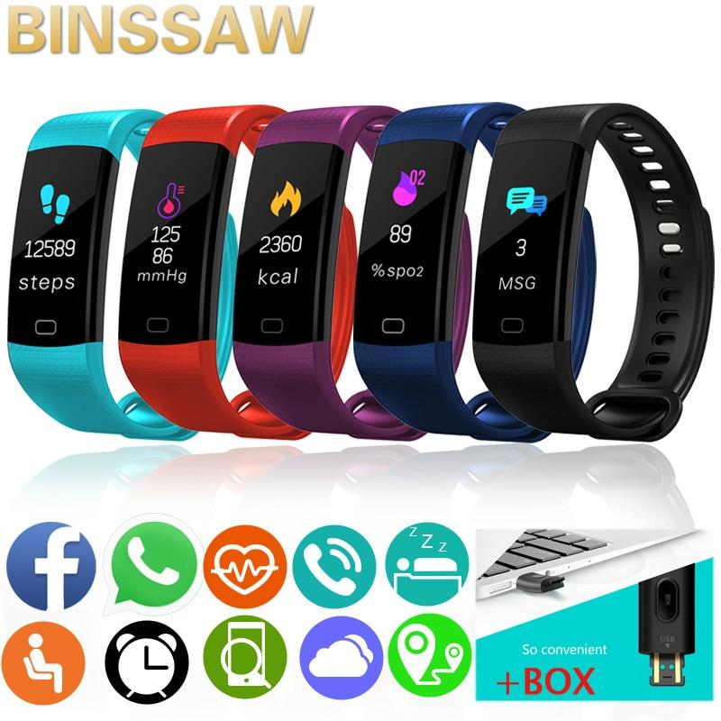 Uhren Box SchöNer Auftritt Binssaw 2019 Neue Smart Sport Uhr Farbe Herz Rate Aktivität Fitness Tracker Smart Elektronik Uhr Vs Xiaomi Miband2