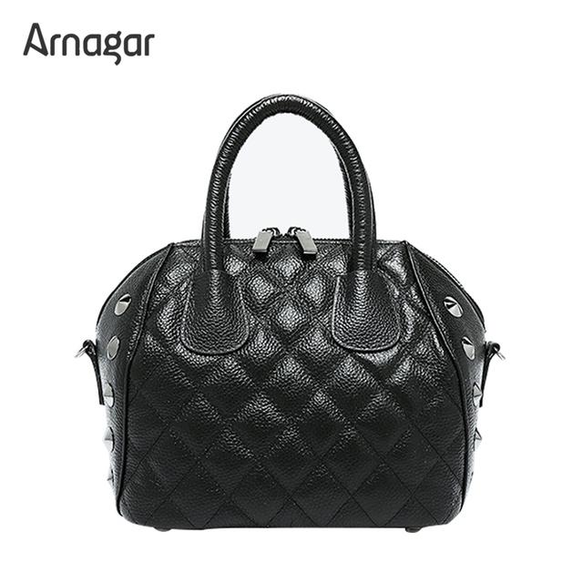 Arnagar genuína mulheres de couro bolsas 2017 bolsa da forma saco rebite bolsa sacos de mulheres mensageiro bolsas de couro senhoras saco um dos