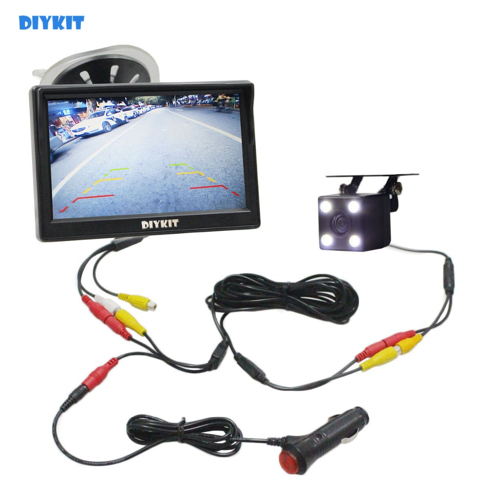 DIYKIT 5 Inch 800 X 480 HD Car Monitor Waterproof Reverse LED Night Vision Backup Rear View Car Camera With Monitor