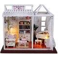 """Casa de Bonecas Diy Modelo De Construção Kits Montados Artesanal 3D De Madeira Casa de Boneca Melhor Presente para o Miúdo, """"Som de Música"""" Casa de Brinquedo em miniatura"""