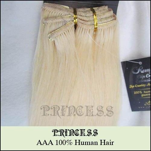 """Venta al por mayor 15 """" 20 """" 22 """" mujeres de Remy pelo humano recto clip en extensiones de cabello 7 unids 75 g Platinum Blonde #60"""