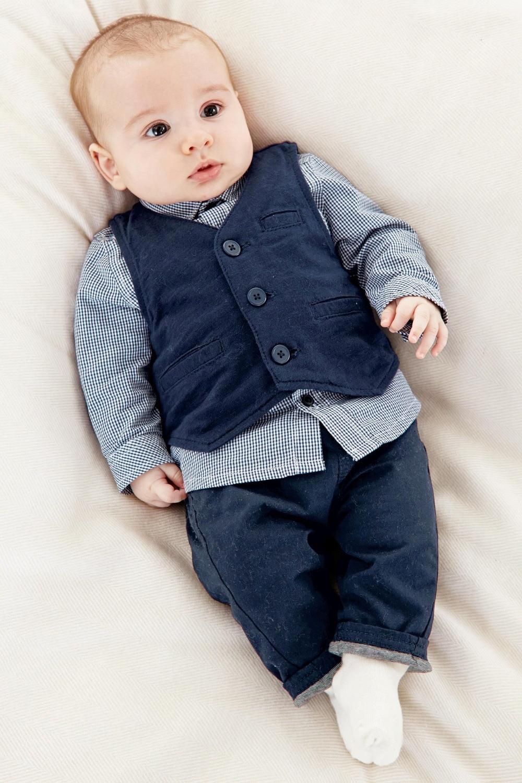 New 2018 Autumn Baby Boy Set 3 Pcs Vest Long Sleeve Shirt Pants