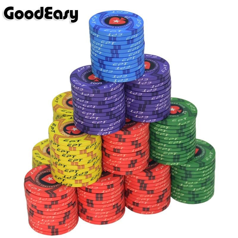 New EPT Ceramic Texas Poker Chips Professional Casino Pokerstars European Poker Tour Poker Chips Set 10pcs/Lot