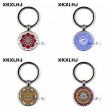 XKXLHJ 2018 New Mandala Flower Of Life Keychain Classic Budddhist Lotus Sacred Geometry Women Key Chain Holder For Car Bag