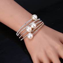 HOCOLE Wedding Jewelry Crystal Pearl Bracelets For Women Gold Silver Adjustable Bangles Bracelet Female Party Jewelry2019
