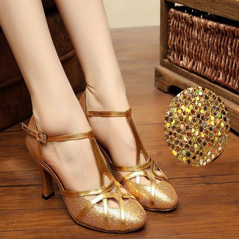 Latino plesne tenisice Cipele zatvorene nožice PU šljokice 8cm Moderne cipele za žene Marke Upscale Flash satenske tenisice za odrasle 6116