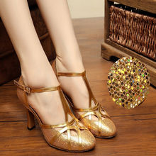 Ballroom Latin Dance Shoe Closed Toe PU Sequins 8cm Modern shoes for women Brand Upscale Flash Satin Adult Dancing Sneakers 6116