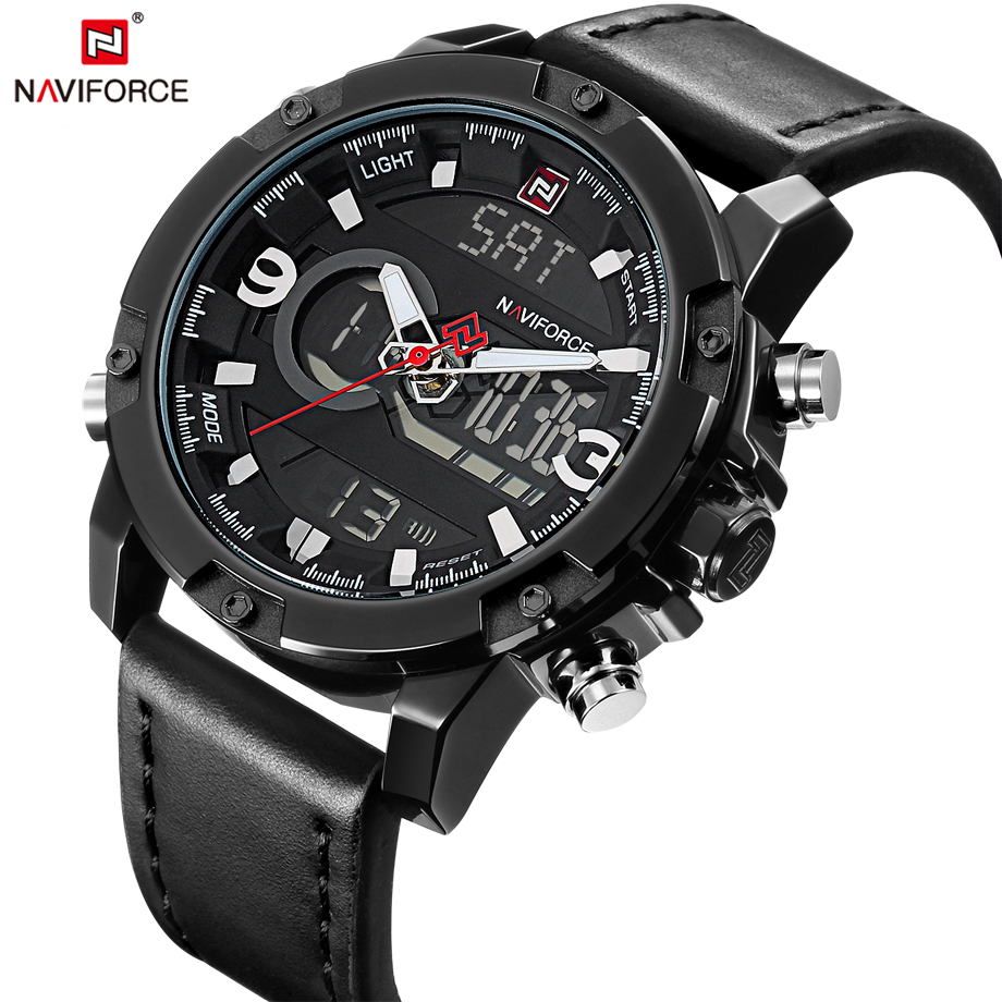 NAVIFORCE Mens Watches Fashion Casual Sport Black Leather Watch Male Clock Man Army Military Quartz Wristwatch