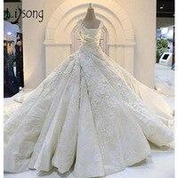 Vintage Luxury Wedding Dresses Lebanon Puffy Bridal Ball Gowns Lace Appliques Crystal Vestido De Noiva 2018 Long Train Abiye