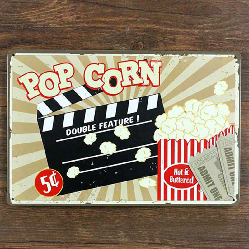 Retro metal tin sign pop corn for Home theater wall art decoration,size 20x30cm