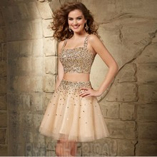 ZJ19 Sparkly Short Mini Two Piece Prom Dresses 2016 New Arrival Crystal Robe de soiree Sexy Champagne Tulle A Line Party Gown