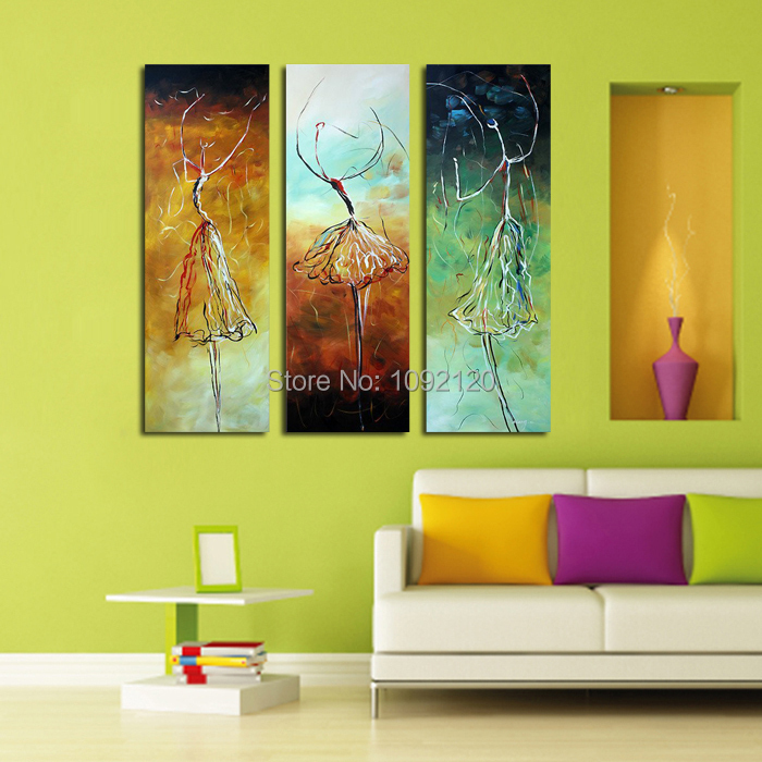 100% Handmade Modern Fashion Decoration Oil Paintings Dancing Women Painting On Canvas 3 Panels For Living Room Decor