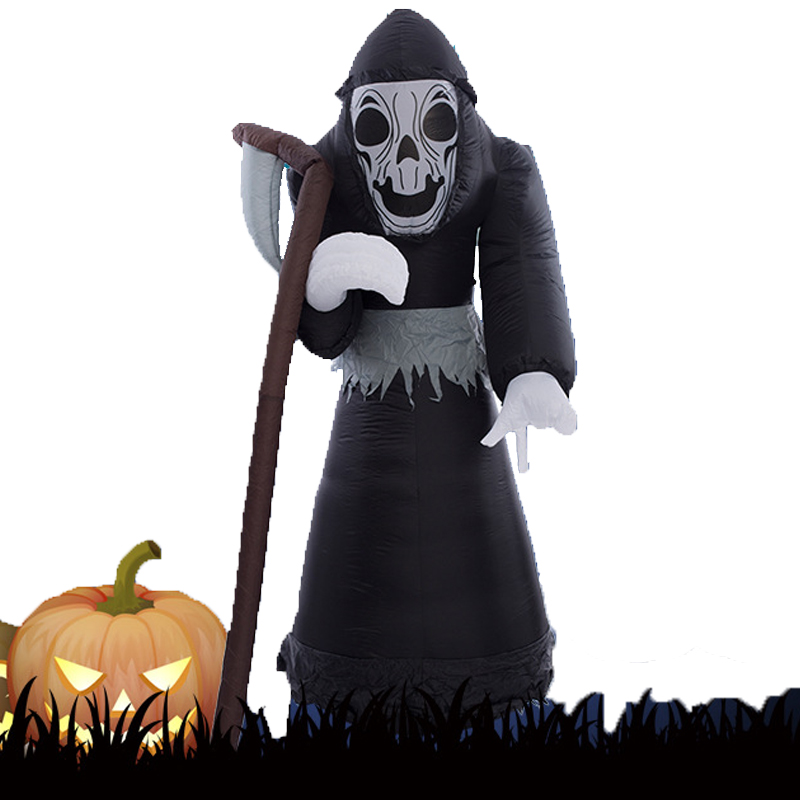 180cm Giant Grim Reaper with sickle LED Lighted Terror Inflatable Toys Christmas Halloween Props Party Fun Toys Yard Decoration стоимость