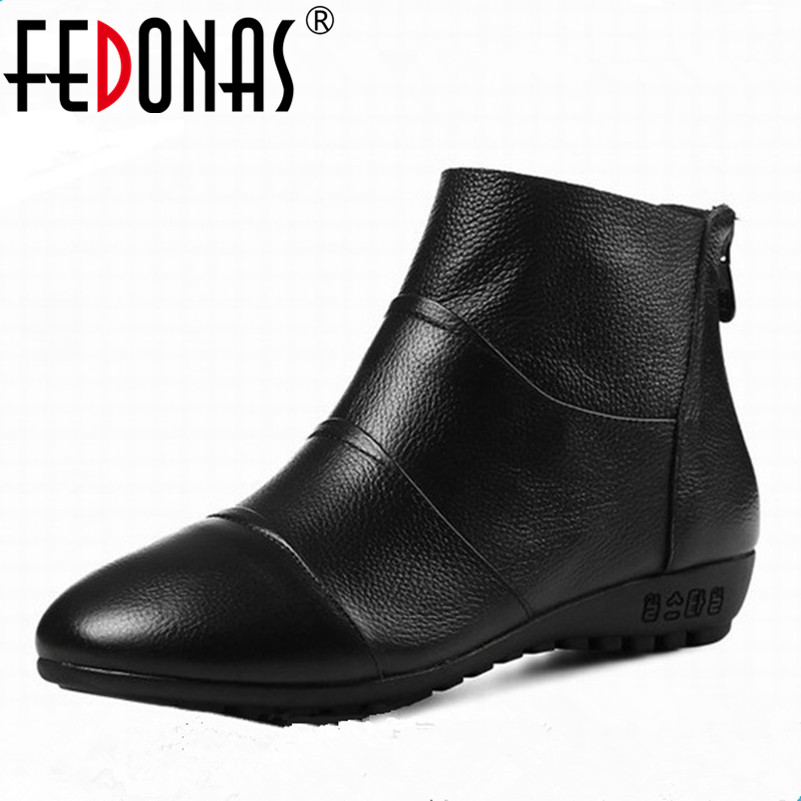 FEDONAS Fashion Sexy Women Genuine Leather Boots Autumn Winter Wedges Heels Ankle Boots Shoes Woman Ladies Short Martin Boots 2017 fashion autumn genuine leather red women boots winter black flat martin solid ladies shoes woman boots zapatos mujer 1406n