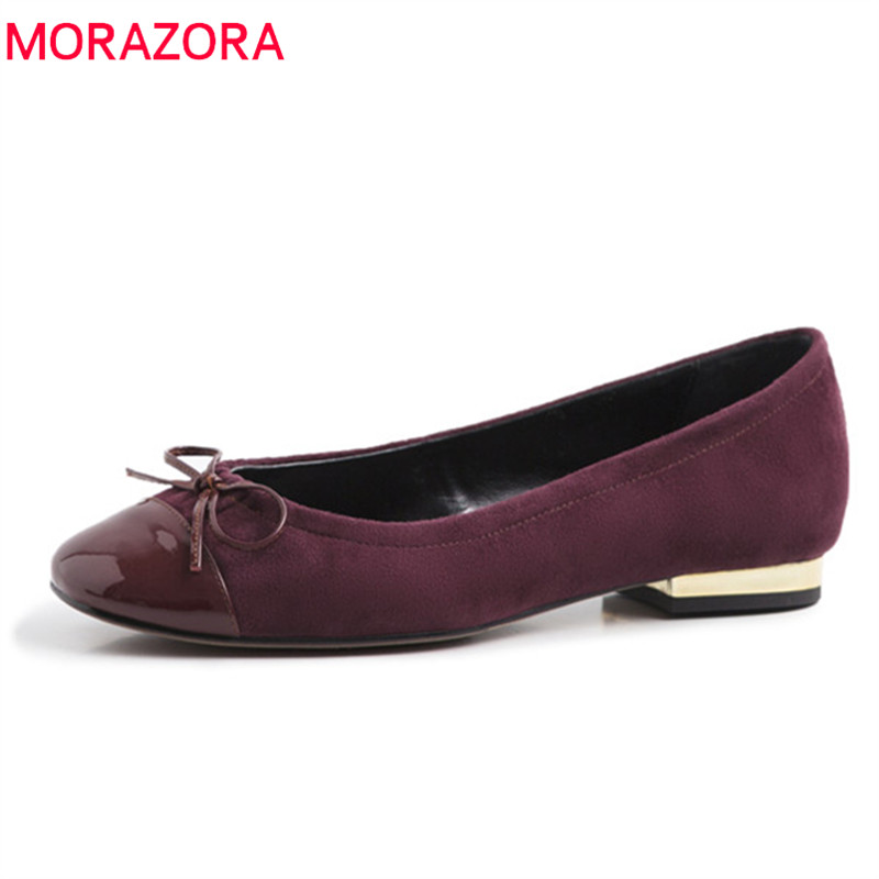 MORAZORA 2019 new arrival   suede     leather   flat shoes women round toe spring summer shoes bowknot simple casual single shoes woman