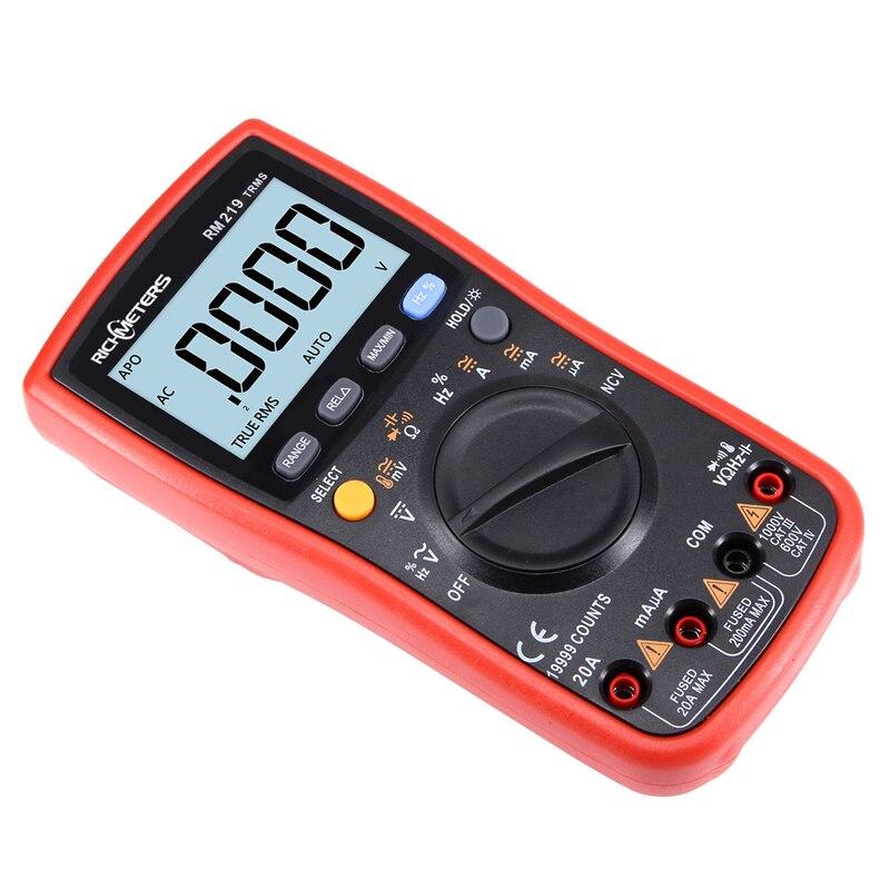 RM219 True-RMS 19999 compte multimètre numérique fréquence NCV mise hors tension automatique AC DC ampèremètre courant Ohm - 4