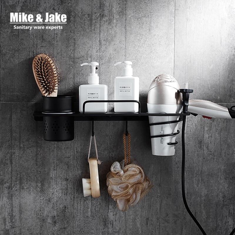 Stainless Steel 304 Bathroom Shelf Hair Dryer Rack With 1 Cup Hair Dryer Rack Households Rack Hair Blow Dryer Holder With Hooks