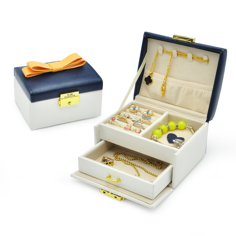 Guanya Elegant jewelry box bowknot Double Drawer PU leather earrings
