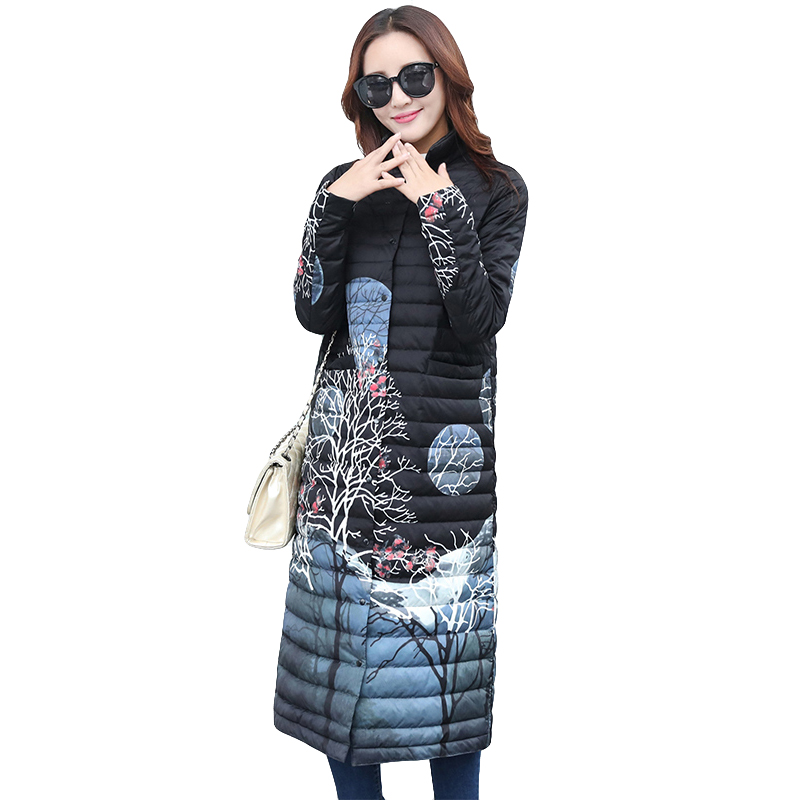 Lightweight Winter 90% White Duck   Down   Jacket Women 2019 Fashion Print   Down   Jacket Slim Long Portable Outwear Winter   Down     Coats