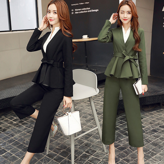 Spring 2018 Suit Fashion Pant Suits Women Casual Office Business Formal Work Wear Sets Uniform
