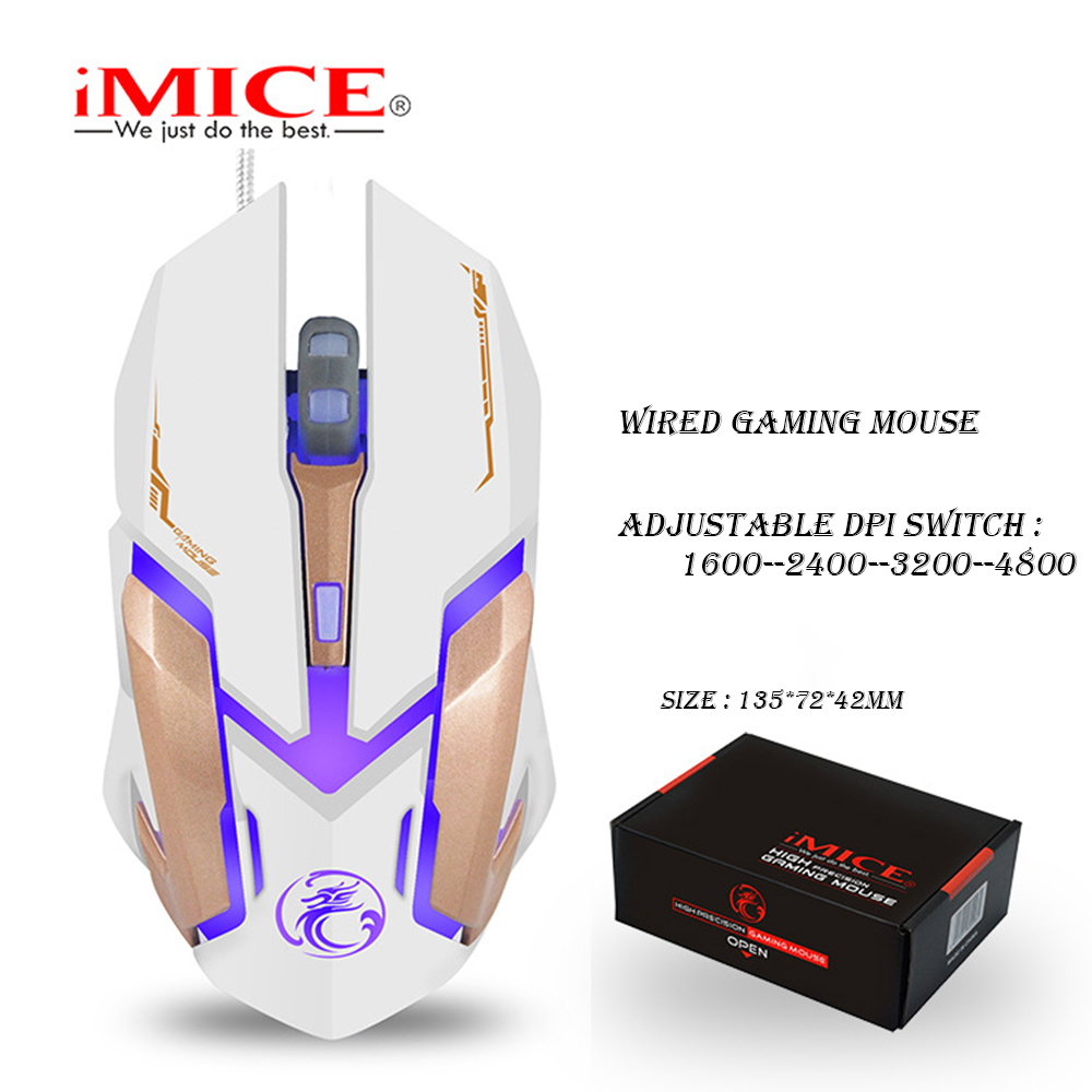 Image 2 - iMICE V6 Wired Gaming mouse USB Optical Mouse 6 Buttons PC Computer Mouse Gamer Mice 4800dpi For Dota 2 LOL Game-in Mice from Computer & Office