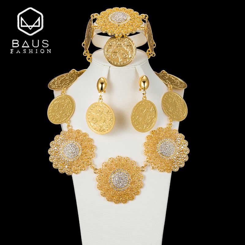 2018 طقم مجوهرات الزفاف s الذهب اللون الزفاف الخرز الأفريقي طقم مجوهرات s دبي الذهب اللون طقم مجوهرات زي رومانسية طويلة التصميم