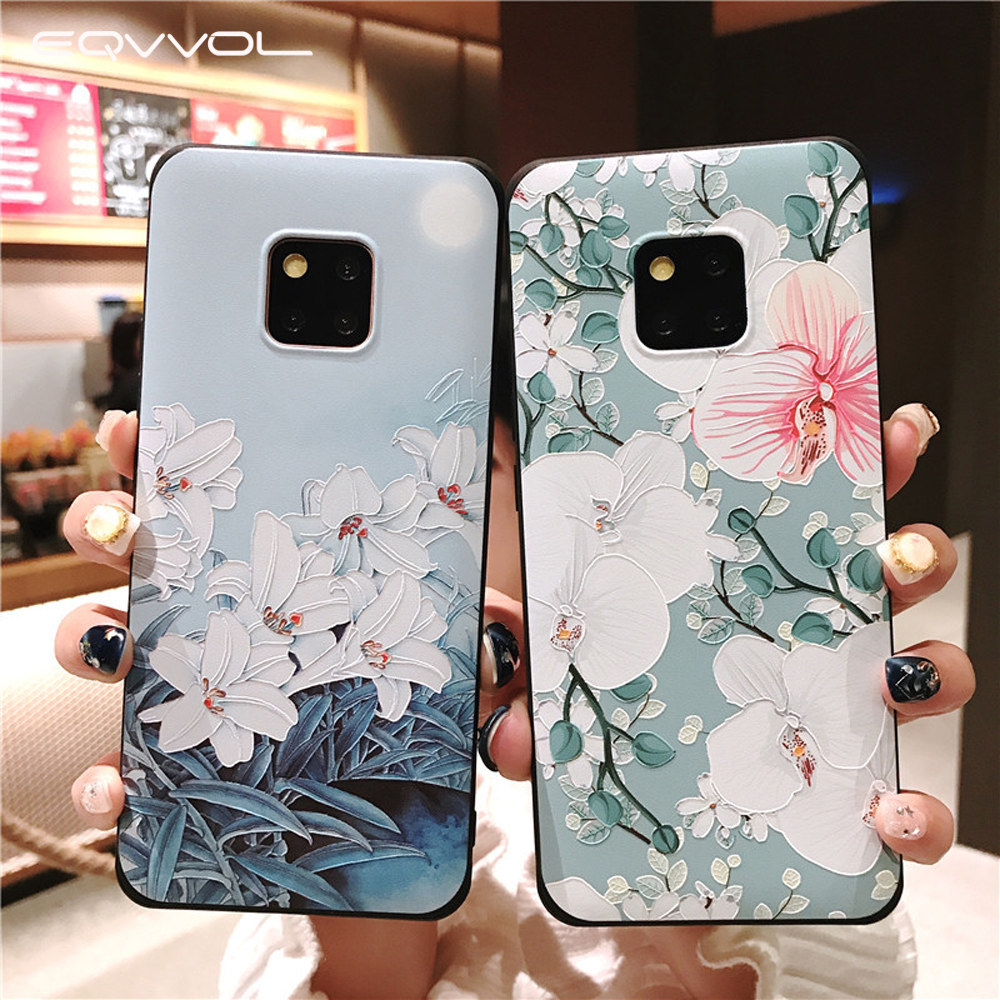 Eqvvol 3D Emboss Flower Pattern Phone Case For Huawei Mate 10 20 Pro P10 Plus P20 Lite Nova 3 3i 2s Shockproof Cases Full Cover(China)
