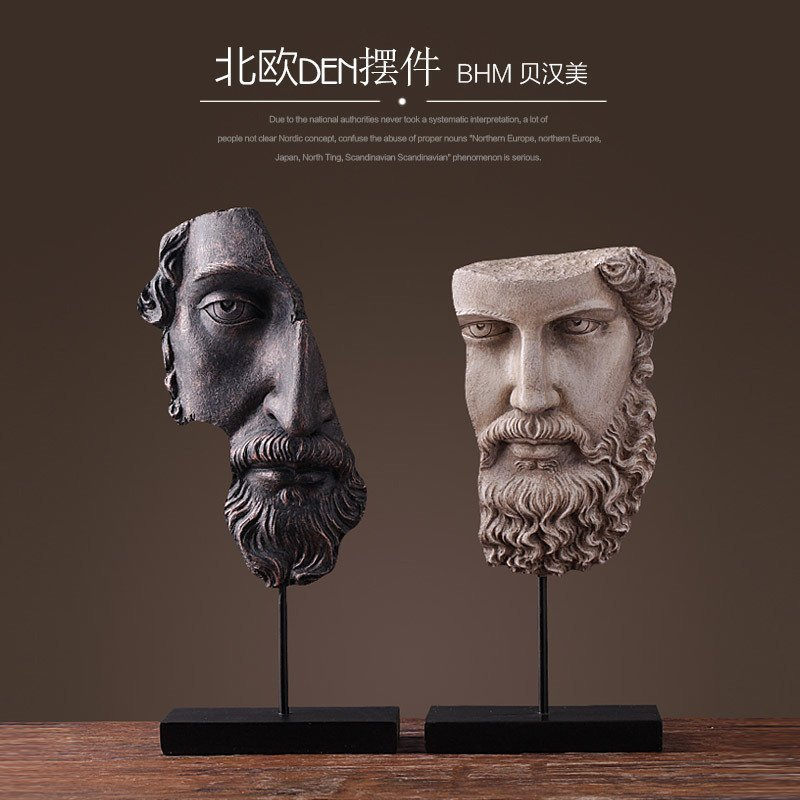 Nordic resin human face figurine bar vintage statue home decor crafts room decoration objects office Retro abstract head statueNordic resin human face figurine bar vintage statue home decor crafts room decoration objects office Retro abstract head statue
