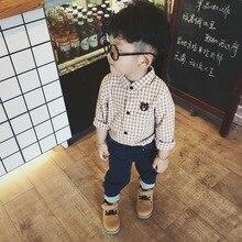 Kids boys formal shirt plaid long sleevesoft cotton clothes chemise enfant garcon embroidery bear kids shirts