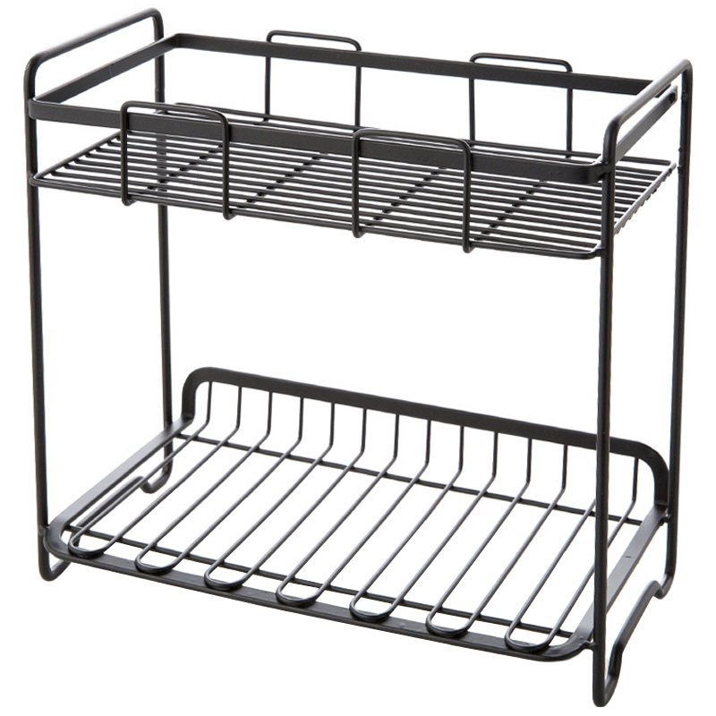 Iron seasoning rack seasoning kitchen storage rack kitchen floor rack double storage rack Lu4209