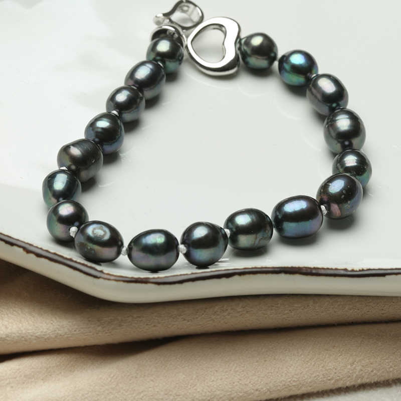 Baroqueonly freshwater pearl bracelet irregular geometrical pearl  Zircon heart clip rice pearl white purple HR