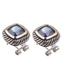 Серьги с синими кристаллами и цирконием, 925 пробы, серебро,, новейшие модные ювелирные изделия, серьги TE641
