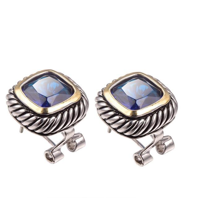 Blue Crystal Zircon Earrings 925 Sterling Silver Free Shipping Newest Fashion Jewelry Earrings TE641