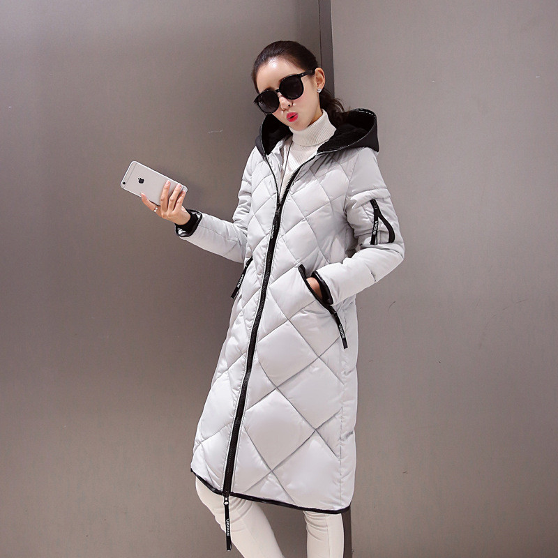 Parka Women Jackets Winter Long Section Down Cotton Padded Jacket Thick Winter Coat Female Collar Hooded Down Jacket TT252 european station 2016 winter new simple casual hooded cotton self cultivation long section of thickened down padded coat