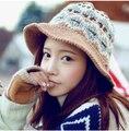 Новый корейский милый теплая зима ручной вязаная шапка рыбак крышка ведро Hat лыж Cap