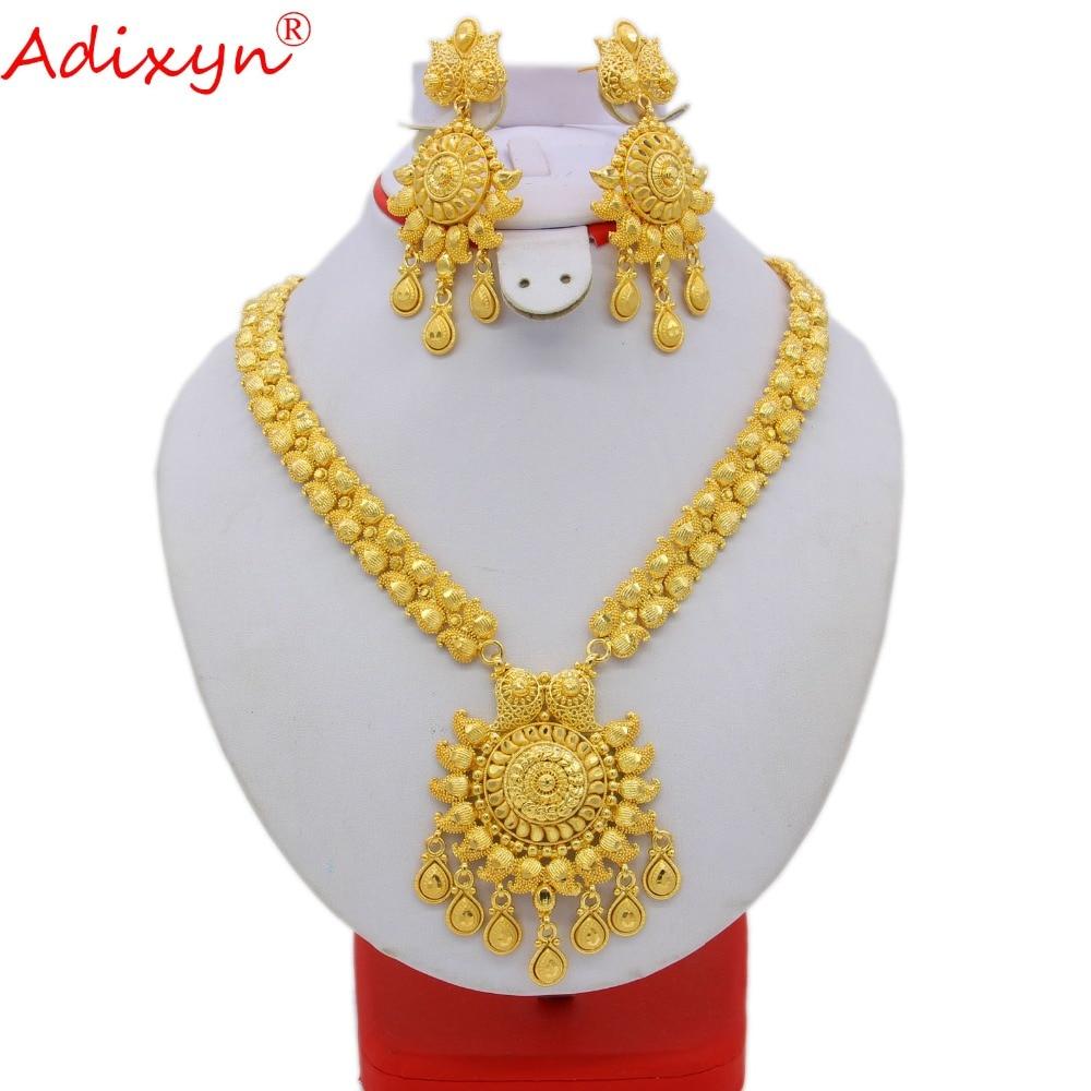Adixyn 65 cm/26 pouces mode collier/boucles d'oreilles/bague bijoux ensemble femmes couleur or bijoux arabes/éthiopiens accessoires de mariage N09273