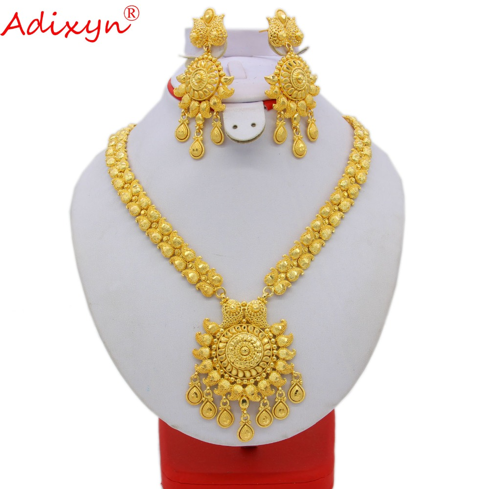 Adixyn 65cm/26inch Fashion Necklace/Earrings/Ring Jewelry Set Women Gold Color Arab/Ethiopian Jewelry Wedding Accessories N09273Adixyn 65cm/26inch Fashion Necklace/Earrings/Ring Jewelry Set Women Gold Color Arab/Ethiopian Jewelry Wedding Accessories N09273