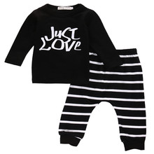 New Arrival Autumn Winter 2pcs Newborn Toddler Clothing Infant Baby Boy Girl Clothes Black T-shirt Tops Pants Outfits Set