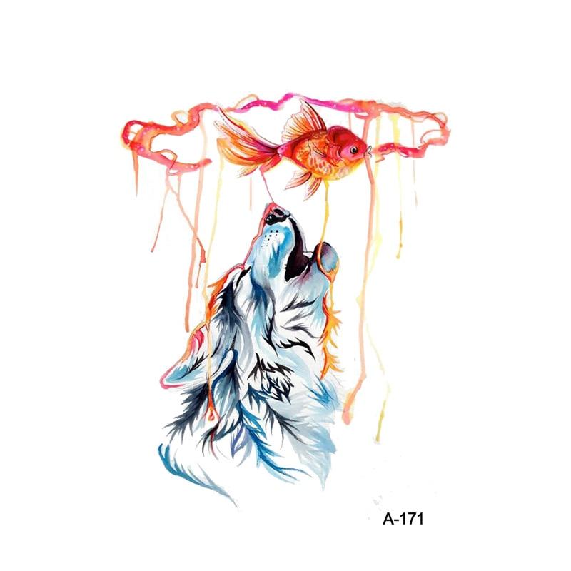 WYUEN Mysterious Wolf Totem Fake Tattoo Sticker Temporary Watercolor Fish Women Arm Tatoo Stickers Men Body Art Tattoos A-171
