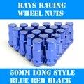 RAYOS Racing Wheel Universal, Tuercas, Sistema de la cerradura, 20 + 2 pcs, Estilo largo 50mm tornillos Antirrobo, 4 colores, P1.5/P1.25