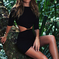 Metade da luva das mulheres sexy summer dress 2017 bandage bodycon cintura oco out backless night club vestidos mini partido dress
