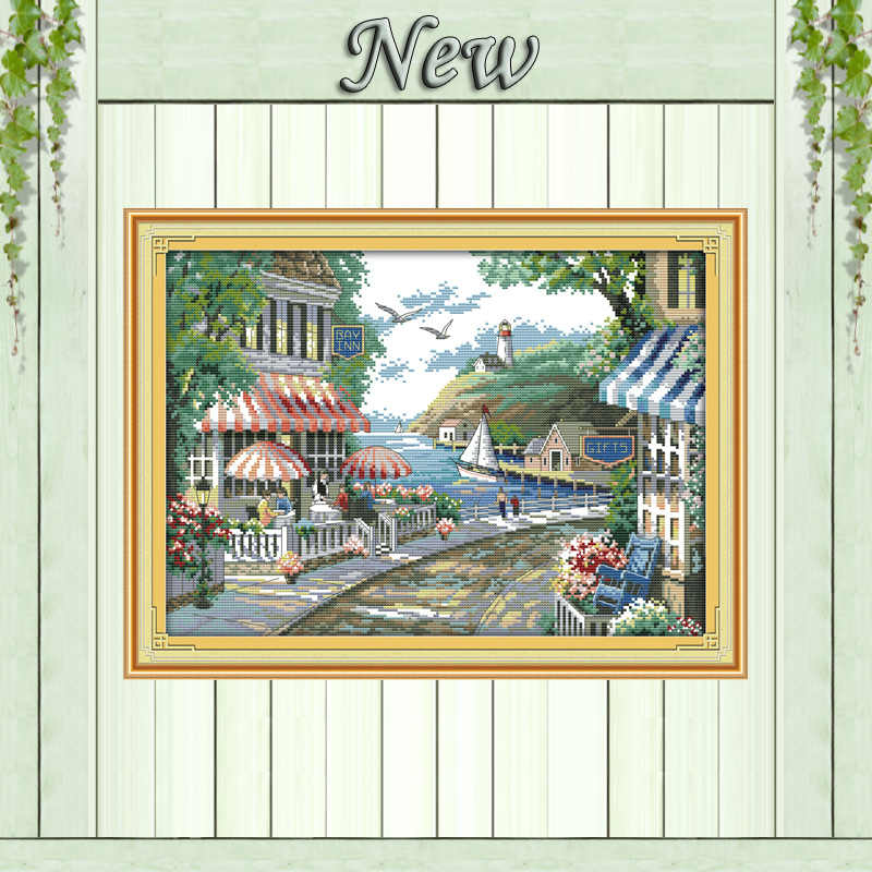 The seaside cafe house flowers Counted print on canvas DMC 14CT 11CT Cross Stitch Needlework kits Embroidery Sets Decor painting