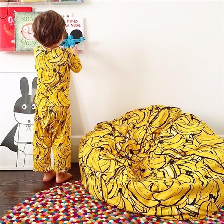 Galleria fotografica INS Bambini I Bambini Super Confortevole Divano Pigro di Banana Sacchetto di Fagiolo di Riempimento Divano Sedia A Sacco Fotografia Giocattoli Bed Room Decor