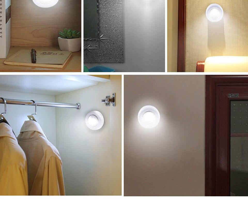 LED Novelty Lighting Wall Light Night Lights COB LED Stick Sticker Tap Touch Cabinet Wardrobe Corridor 3x AAA Batteries (11)