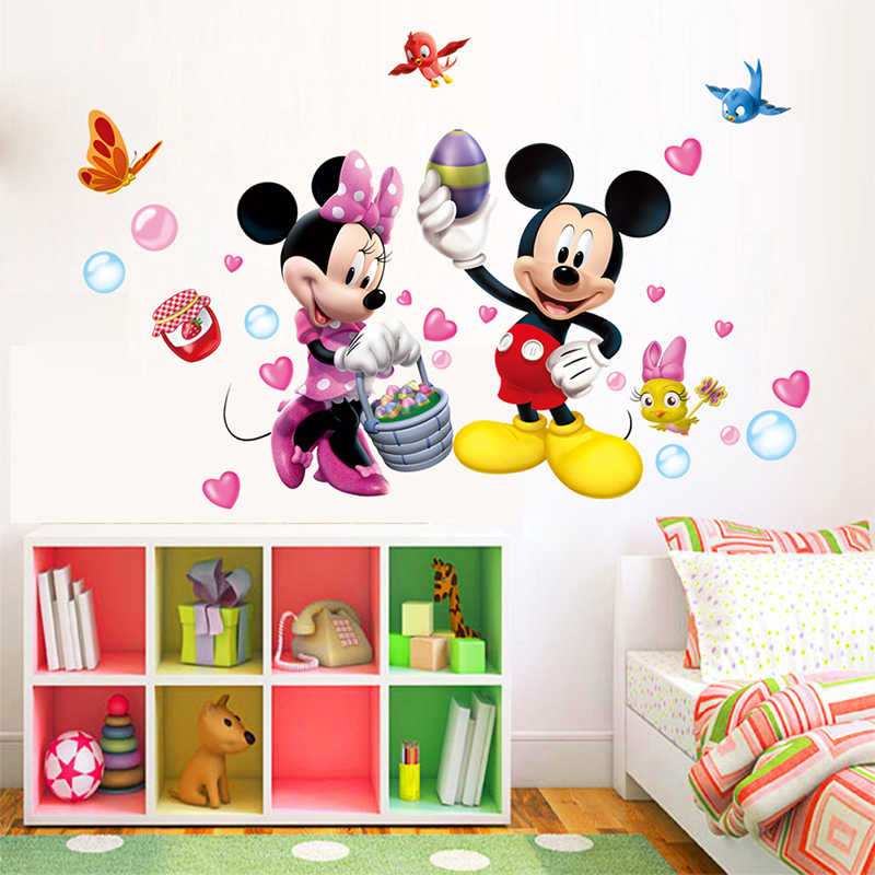 Disney Cartoon Mickey Minnie Mouse PVC Wall Stickers For Nursery Kids Room Home Decor Living Room Anime Mural Wall Art DIY Decal