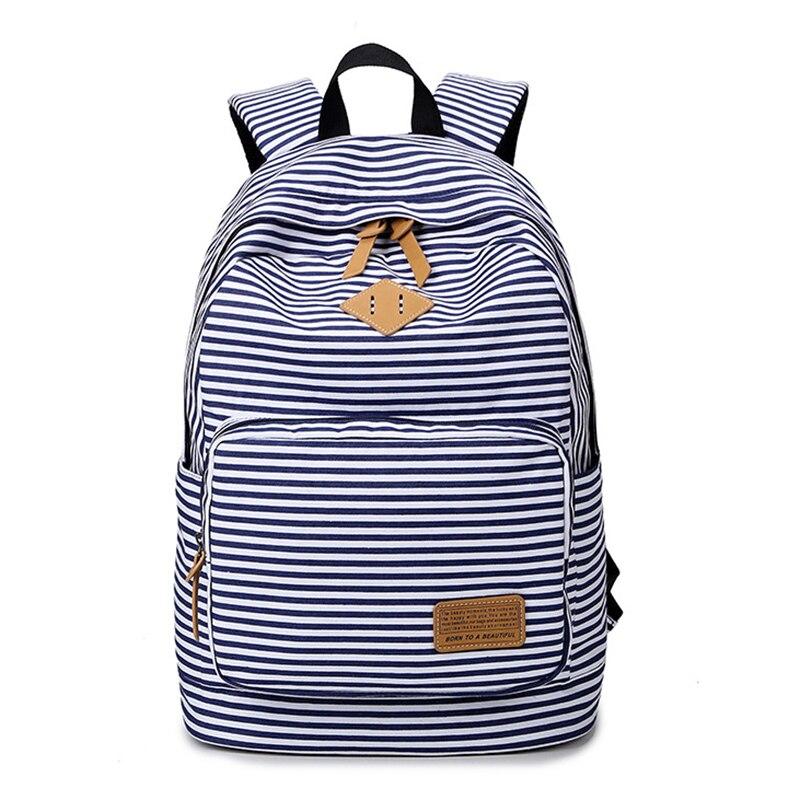 RUIPAI Womens Backpack Girls Bag Elegant Striped Soft Double Shoulder cute Durable Lightweight Large Capacity Female Pack