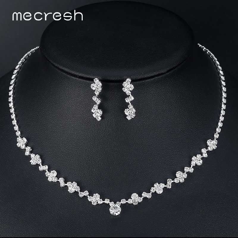 Mecresh 2018 Fashion Geometric Bridal Jewelry Sets for Women Clear Crystal Necklace Earrings Sets Party Wedding Jewelry MTL507