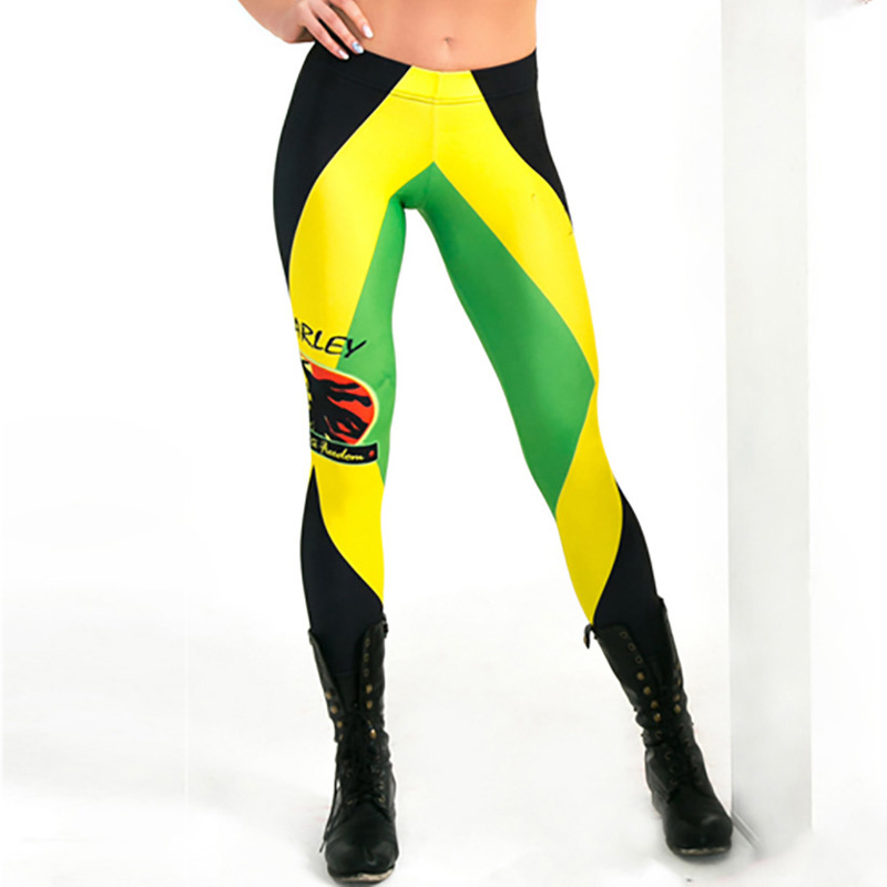 XAXBXC L3791 Sexy Girl Pencil Pants Bob Marley Jamaican flag Printed Elastic Slim Fitness Workout Women   Leggings   Plus Size