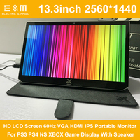 13.3 Inch 2560*1440 HD LCD Screen 60Hz VGA HDMI IPS Portable Monitor For PS3 PS4 NS XBOX Game Display With Speaker